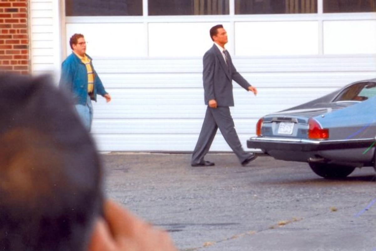 """Leonardo DiCaprio and Jonah Hill in Ardsley on the set of """"The Wolf of Wall Street"""" September 2012"""